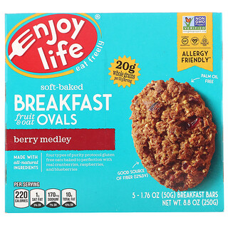 Enjoy Life Foods, Soft-Baked Breakfast  Fruit & Oat Ovals, Berry Medley, 5 Bars, 1.76 oz (50 g) Each