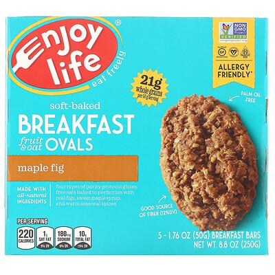 Купить Enjoy Life Foods Овальные мягкие печенья с фруктами и овсянкой, клен и инжир, 5штук, 50г (1, 76 унции) каждое