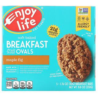Enjoy Life Foods, Soft-Baked Breakfast Fruit & Oat Ovals, Maple Fig, 5 Bars, 1.76 oz (50 g) Each