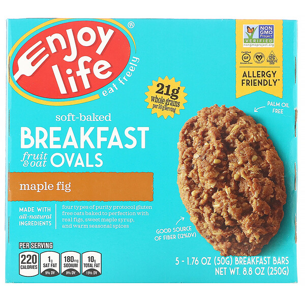Enjoy Life Foods, Soft-Baked Breakfast Fruit & Oat Ovals, Maple Fig, 5 Bars, 1.76 oz (50 g) Each