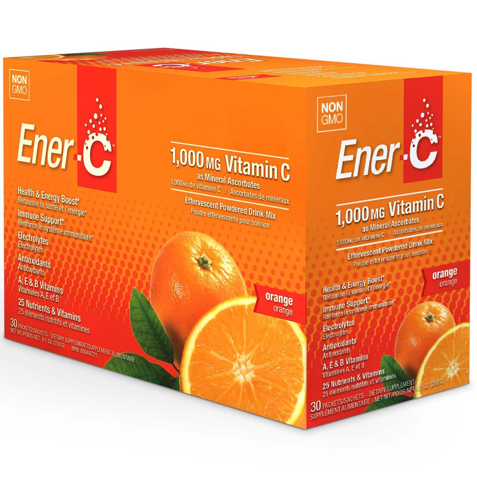 Ener-C, Витамин C, шипучий растворимый порошок для напитка со вкусом апельсина, 30 пакетиков, 9,2 унции (260,1 г)