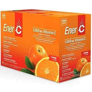 Ener-C, Vitamin C, Effervescent Powdered Drink Mix, Orange, 30 Packets, 9.2 oz (260.1 g)