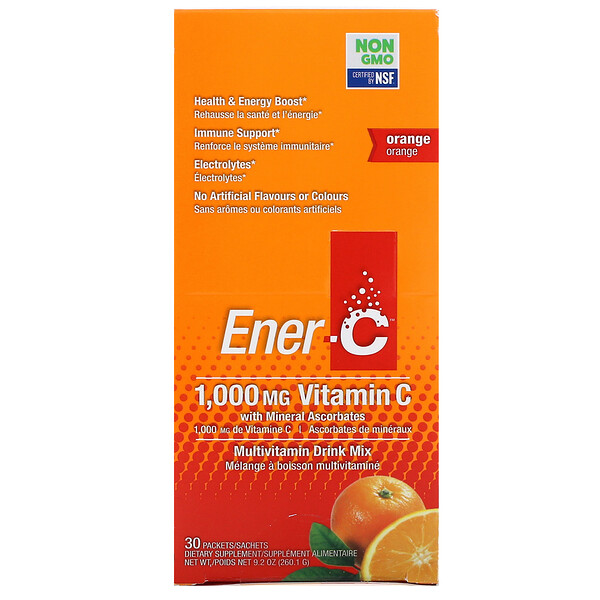 Vitamin C, Multivitamin Drink Mix, Orange, 30 Packets, 9.2 oz (260.1 g)