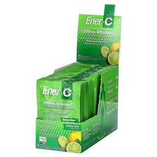 Ener-C, витаминC, смесь для приготовления мультивитаминного напитка со вкусом лайма и лимона, 1000мг, 30пакетиков, 9,56г (0,3унции) в каждом