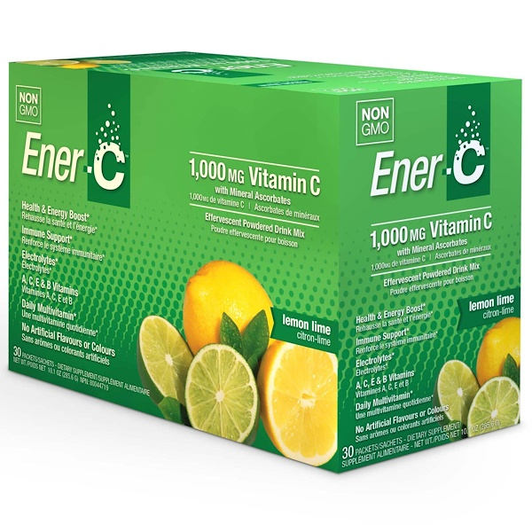 Ener-C, ビタミンC、発泡性粉末飲料ミックス、レモンライム、30包、10.1オンス (285.6g)