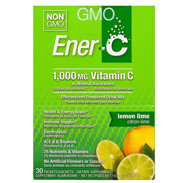 ビタミンC、発泡性粉末飲料ミックス、レモンライム、30包、10.1オンス (285.6g)