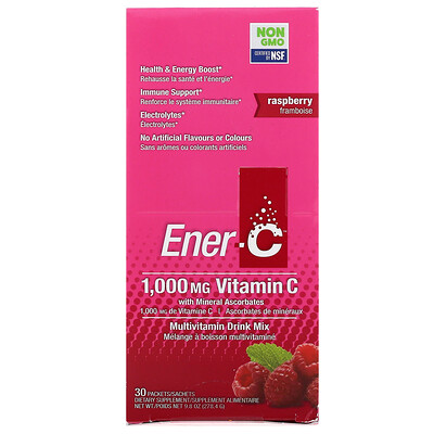 цена на Vitamin C, Multivitamin Drink Mix, Raspberry, 30 Packets, 9.8 oz (277 g)