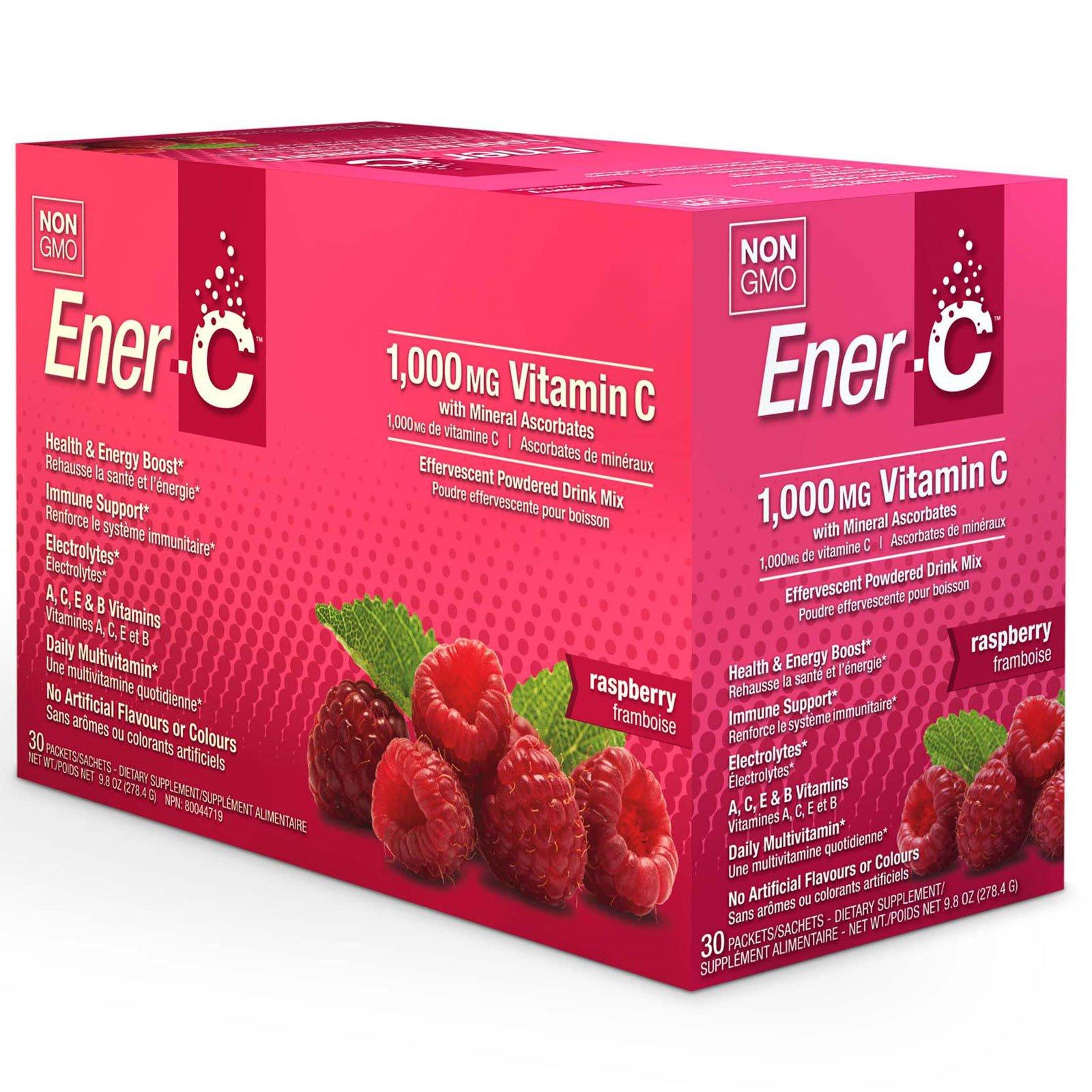 Ener-C, Витамин C, шипучий растворимый порошок для напитка со вкусом малины, 30 пакетиков, 9,8 унции (277 г)