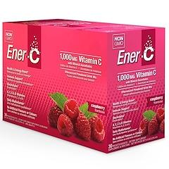 Ener-C, Vitamina C, mezcla de bebida en polvo efervescente, frambuesa, 30 paquetes, 9,8 oz (277 g)