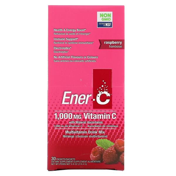 Vitamin C, Multivitamin Drink Mix, Raspberry, 30 Packets, 9.8 oz (278.4 g)