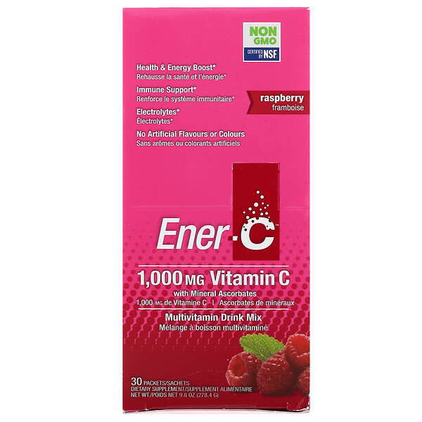 Ener-C, Vitamin C, Multivitamin Drink Mix, Raspberry, 30 Packets, 9.8 oz (277 g)