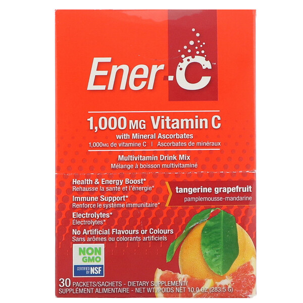 Ener-C, Vitamin C, Effervescent Powdered Drink Mix,Tangerine Grapefruit, 30 Packets, 10.0 oz (283.5 g) (Discontinued Item)