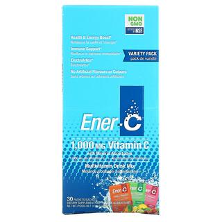 Ener-C, витаминC, смесь для приготовления мультивитаминного напитка, ассорти, 1000мг, 30пакетиков, 282,9г (9,9унции) в каждом