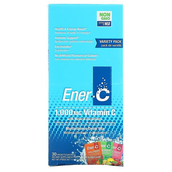 Vitamin C, Multivitamin Drink Mix, Variety Pack, 1,000 mg, 30 Packets, 9.9 oz (282.9 g)
