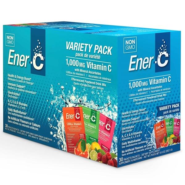 Ener-C, Витамин C, шипучий растворимый порошок для напитка, ассорти, 30 пакетиков, 9,9 унции (282,5 г)