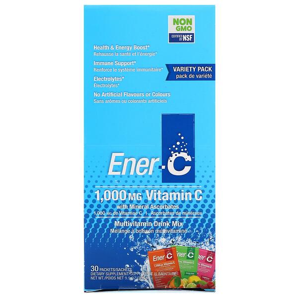 Ener-C, فيتامين جـ، مزيج شراب الفيتامينات، عبوة متنوعة، 30 عبوة، 9.9 أونصة (282.9 جم)