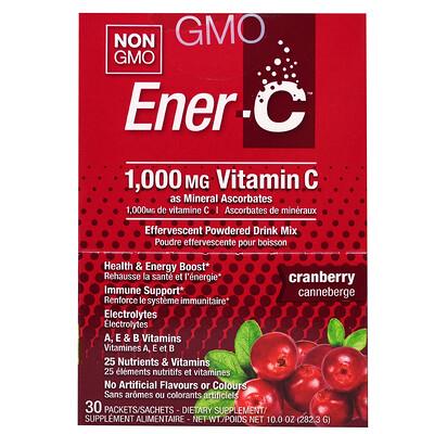 Купить Ener-C Витамин C, шипучий растворимый порошок для напитка со вкусом клюквы, 30 пакетиков, 10, 0 унций (282, 3 г)