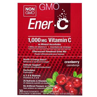Ener-C, Витамин C, шипучий растворимый порошок для напитка со вкусом клюквы, 30 пакетиков, 10,0 унций (282,3 г)