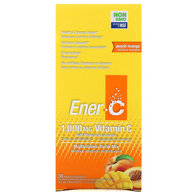 Ener-C Vitamin C, Multivitamin Drink Mix, Peach Mango, 30 Packets, 10.2 oz (289.2 g)