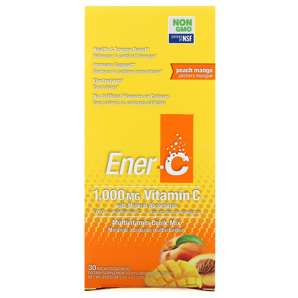 Ener-C, Vitamin C, Multivitamin Drink Mix, Peach Mango, 30 Packets, 10.2 oz (289.2 g)