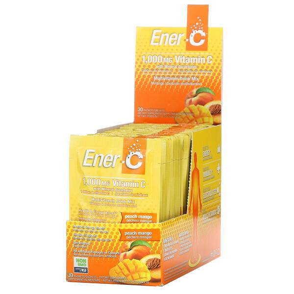 витаминC, смесь для приготовления мультивитаминного напитка со вкусом персика и манго, 1000мг, 30пакетиков, 9,64г (0,3унции) каждый