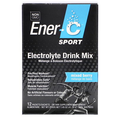 Ener-C Sport, Electrolyte Drink Mix, Mixed Berry, 12 Packets, 0.1 oz (3.43 g) Each