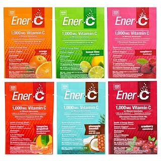Ener-C, Vitamin C, Effervescent Powdered Drink Mix, Variety Pack, 6 Packets