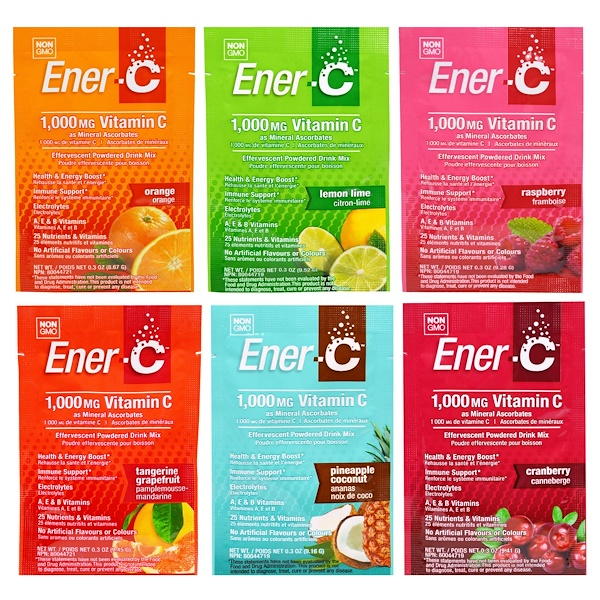 Ener-C, Vitamin C, Effervescent Powdered Drink Mix, Variety Pack, 6 Packets (Discontinued Item)