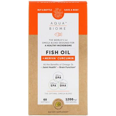 Купить Enzymedica Aqua Biome, Fish Oil + Meriva Curcumin, Lemon Flavor, 1, 200 mg, 60 Softgels