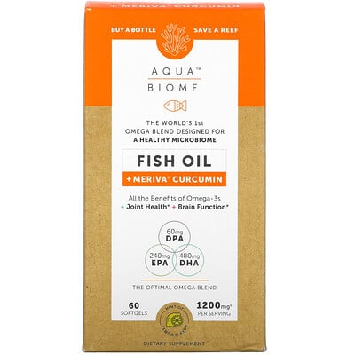 Купить Enzymedica Aqua Biome, рыбий жир с куркумином Meriva, лимонный вкус, 1200мг, 60мягких таблеток