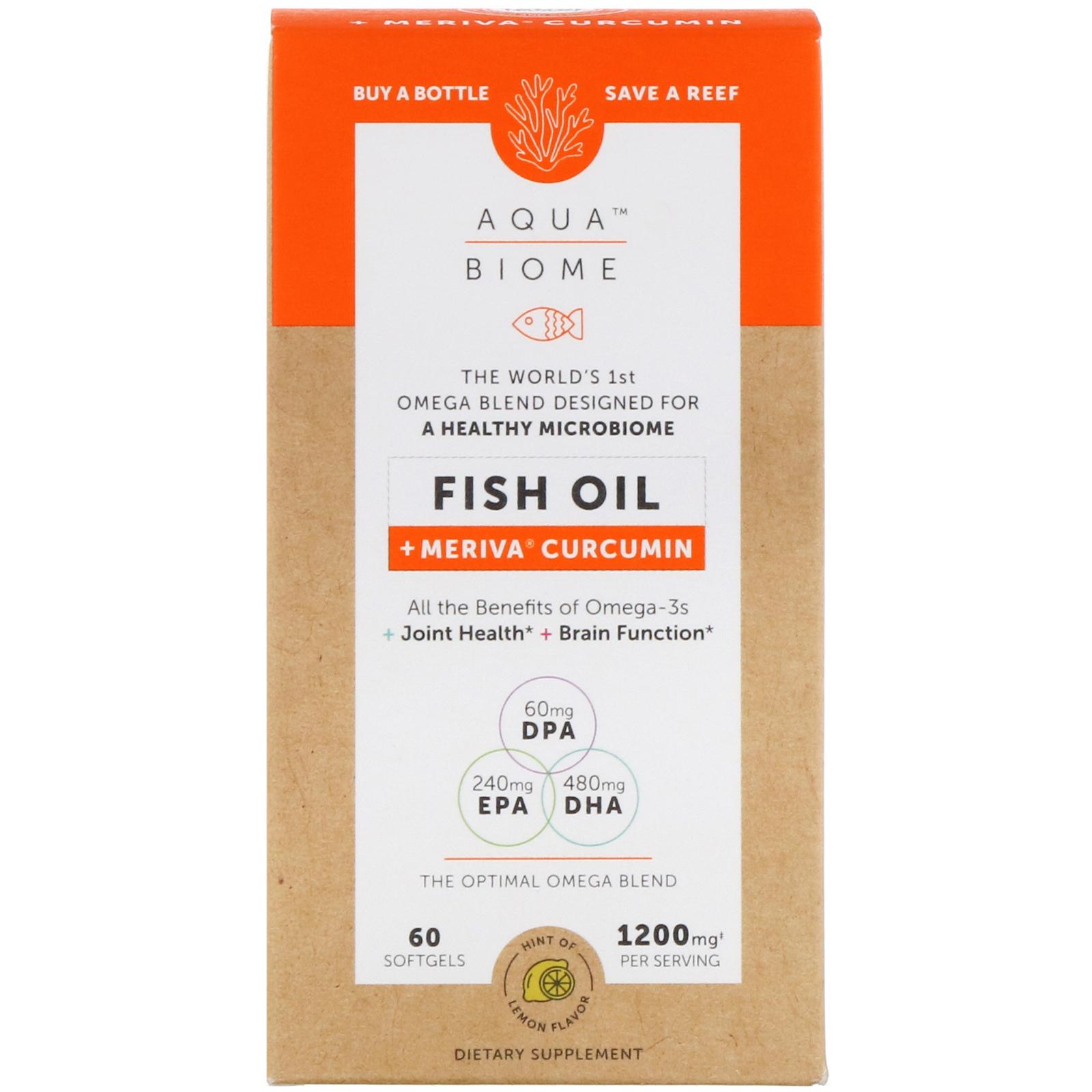 Enzymedica, Aqua Biome, рыбий жир + куркумин Meriva, лимонный вкус, 60 гелевых капсул