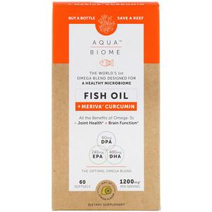 Энзаймедика, Aqua Biome, Fish Oil + Meriva Curcumin, Lemon Flavor, 1,200 mg, 60 Softgels отзывы
