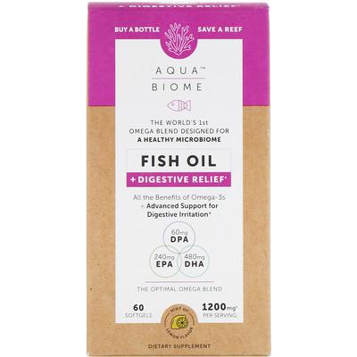 Купить Enzymedica Aqua Biome, Fish Oil + Digestive Relief, Lemon Flavor, 1, 200 mg, 60 Softgels