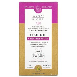 Enzymedica, Aqua Biome, Fish Oil + Digestive Relief, Lemon Flavor, 1,200 mg, 60 Softgels