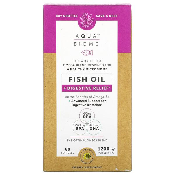 Aqua Biome, Fish Oil + Digestive Relief, Lemon Flavor, 1,200 mg, 60 Softgels
