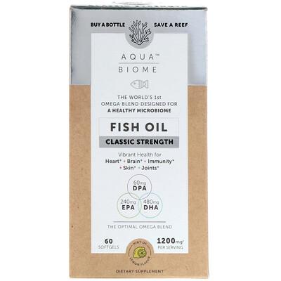 Купить Enzymedica Aqua Biome, Fish Oil, Classic Strength, Lemon Flavor, 1, 200 mg, 60 Softgels