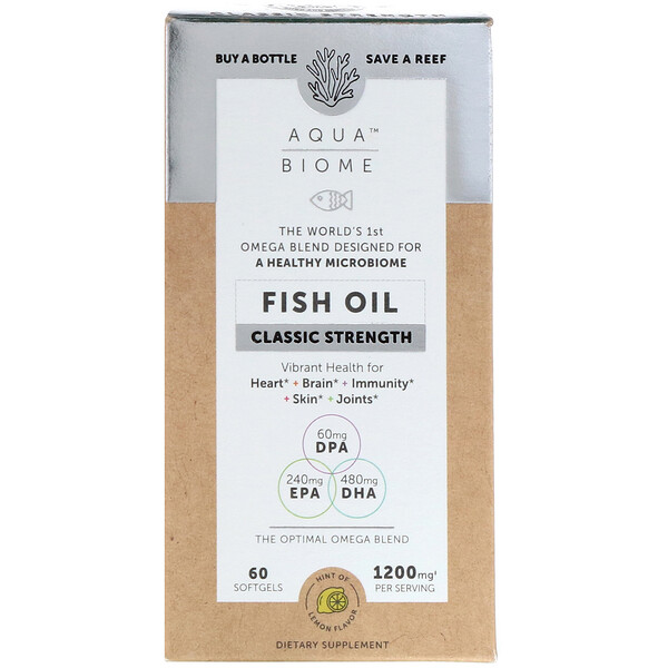 Aqua Biome, Fish Oil, Classic Strength, Lemon Flavor, 1,200 mg, 60 Softgels