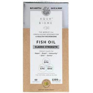 Энзаймедика, Aqua Biome, Fish Oil, Classic Strength, Lemon Flavor, 1,200 mg, 60 Softgels отзывы