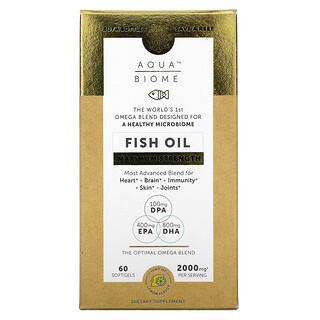 Enzymedica, Aqua Biome, Fish Oil, Maximum Strength, Lemon , 1,000 mg, 60 Softgels