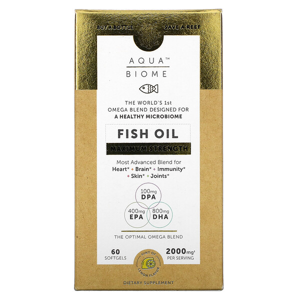 Enzymedica, Aqua Biome, Fish Oil, Maximum Strength, Lemon Flavor, 2,000 mg, 60 Softgels