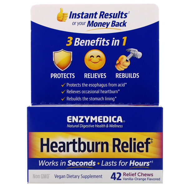 Enzymedica, Heartburn Relief, Vanilla-Orange Flavored, 42 Relief Chews