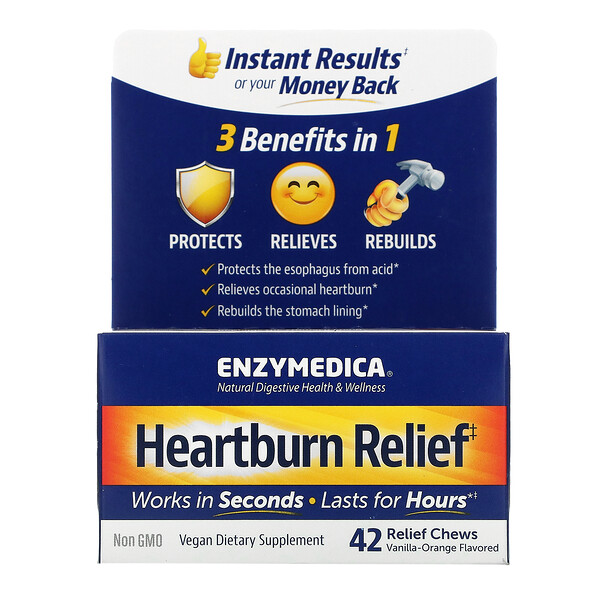 Heartburn Relief, Vanilla-Orange Flavored, 42 Relief Chews