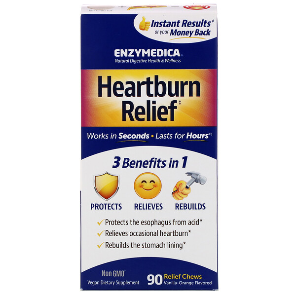 Heartburn Relief, Vanilla-Orange Flavored, 90 Relief Chews