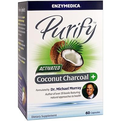 Очищение, активированный кокосовый уголь+, 60 капсул