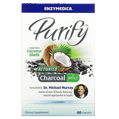 Enzymedica Purify, активированный уголь, 60капсул