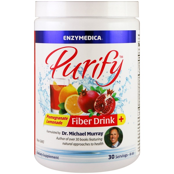Enzymedica, 淨化,纖維飲料,石榴檸檬水,8 盎司