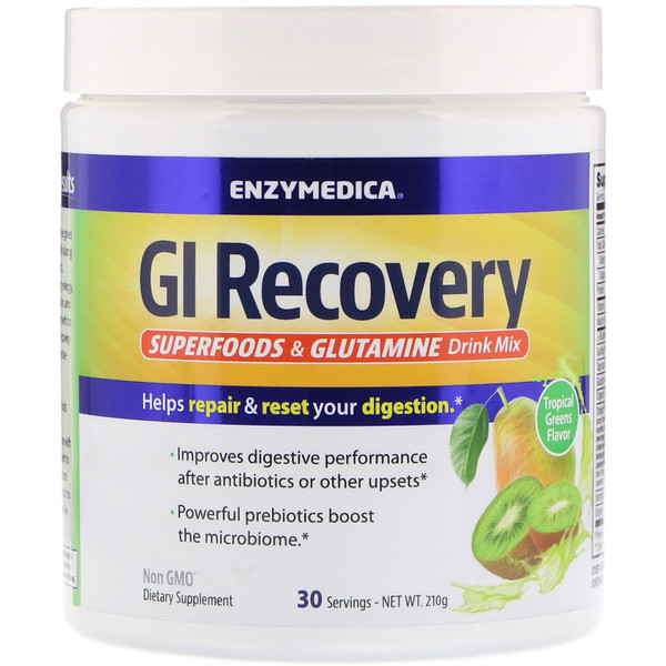GI Recovery Superfoods & Glutamine Drink Mix, Tropical Greens Flavor, 210 g