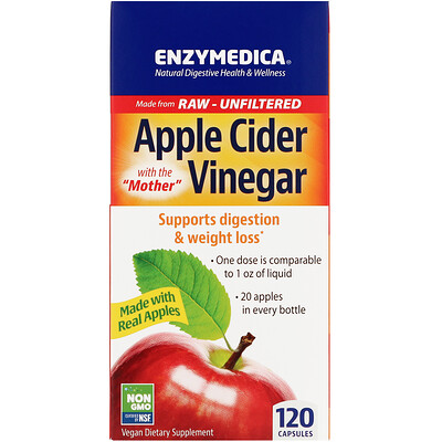 Enzymedica Apple Cider Vinegar with the Mother, 120 Capsules