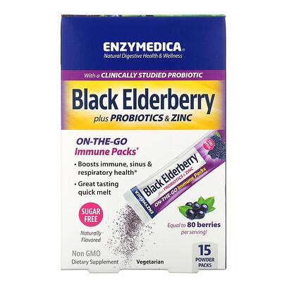 Купить Enzymedica Black Elderberry plus Probiotics & Zinc, Naturally Flavored, 15 Powder Packs