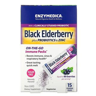 Enzymedica, ブラックエルダーベリープラスプロバイオティクス&亜鉛、粉末15袋